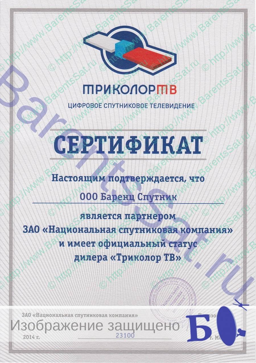 BarentsSat Tricolor Partners's Certificate